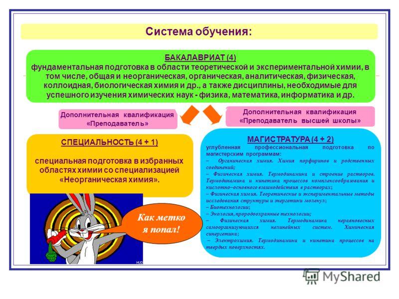 Система обучения: БАКАЛАВРИАТ (4) фундаментальная подготовка в области теоретической и экспериментальной химии, в том числе, общая и неорганическая, органическая, аналитическая, физическая, коллоидная, биологическая химия и др., а также дисциплины, н