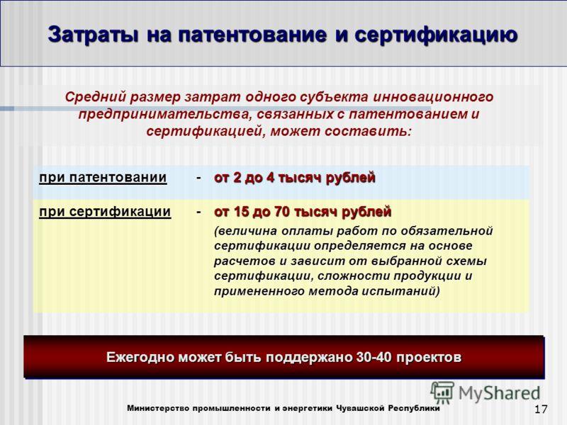 17 Затраты на патентование и сертификацию Министерство промышленности и энергетики Чувашской Республики Средний размер затрат одного субъекта инновационного предпринимательства, связанных с патентованием и сертификацией, может составить: при патентов