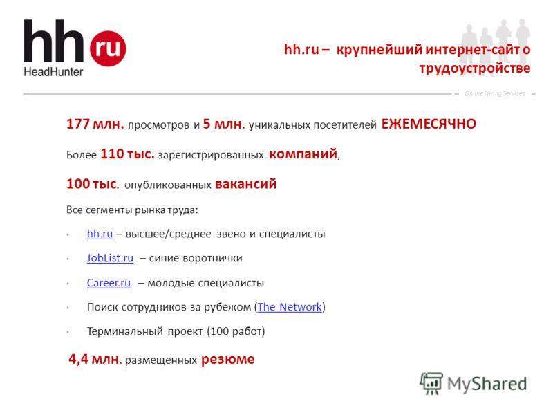 Online Hiring Services hh.ru – крупнейший интернет-сайт о трудоустройстве 177 млн. просмотров и 5 млн. уникальных посетителей ЕЖЕМЕСЯЧНО Более 110 тыс. зарегистрированных компаний, 100 тыс. опубликованных вакансий Все сегменты рынка труда: hh.ru – вы