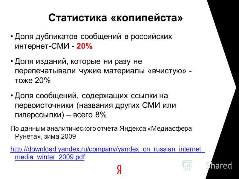 Статистика «копипейста» Доля дубликатов сообщений в российских интернет-СМИ - 20% Доля изданий, которые ни разу не перепечатывали чужие материалы «вчистую» - тоже 20% Доля сообщений, содержащих ссылки на первоисточники (названия других СМИ или гиперс