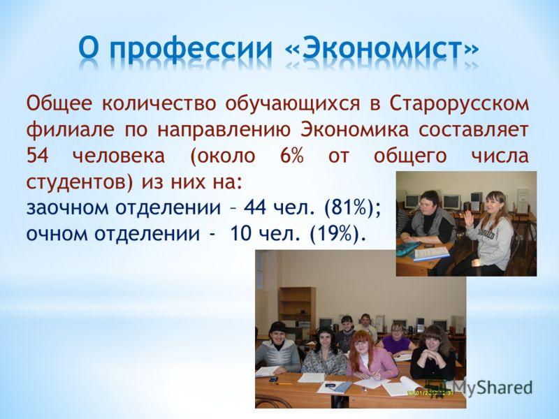 Общее количество обучающихся в Старорусском филиале по направлению Экономика составляет 54 человека (около 6% от общего числа студентов) из них на: заочном отделении – 44 чел. (81%); очном отделении - 10 чел. (19%).
