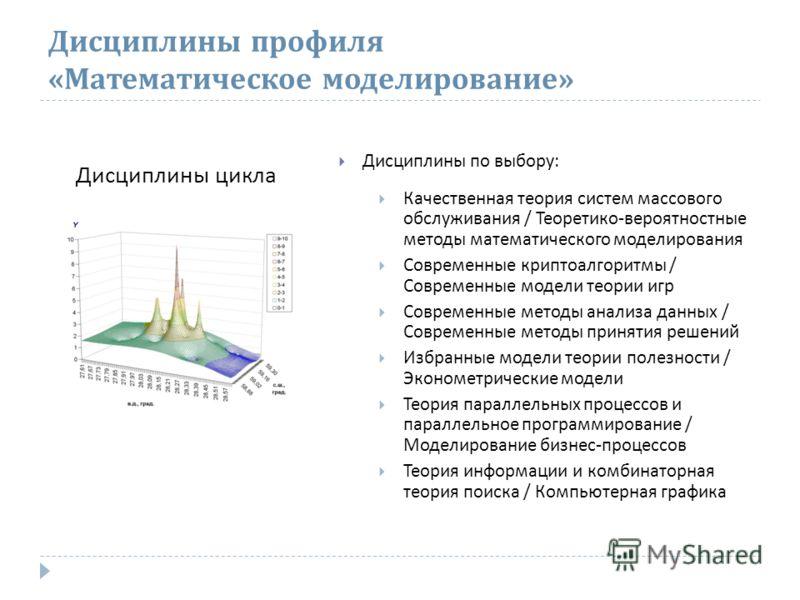 Дисциплины профиля « Математическое моделирование » Дисциплины по выбору : Качественная теория систем массового обслуживания / Теоретико - вероятностные методы математического моделирования Современные криптоалгоритмы / Современные модели теории игр