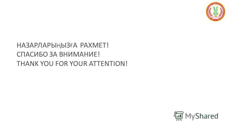 НАЗАРЛАРЫ Ң ЫЗ Ғ А РАХМЕТ ! СПАСИБО ЗА ВНИМАНИЕ ! THANK YOU FOR YOUR ATTENTION! Полезные советы по созданию и демонстрации широкоформатных слайдов