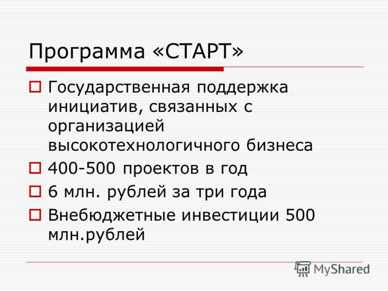 Программа «СТАРТ» Государственная поддержка инициатив, связанных с организацией высокотехнологичного бизнеса 400-500 проектов в год 6 млн. рублей за три года Внебюджетные инвестиции 500 млн.рублей