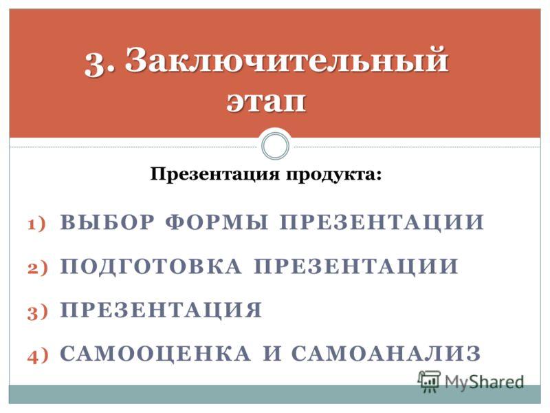 3. Заключительный этап Презентация продукта: 1) ВЫБОР ФОРМЫ ПРЕЗЕНТАЦИИ 2) ПОДГОТОВКА ПРЕЗЕНТАЦИИ 3) ПРЕЗЕНТАЦИЯ 4) САМООЦЕНКА И САМОАНАЛИЗ