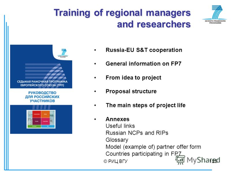 © РИЦ ВГУ125 Russia-EU S&T cooperation General information on FP7 From idea to project Proposal structure The main steps of project life Annexes Useful links Russian NCPs and RIPs Glossary Model (example of) partner offer form Countries participating