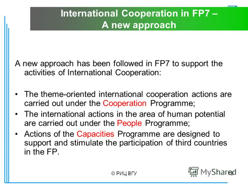 © РИЦ ВГУ18 International Cooperation in FP7 – A new approach A new approach has been followed in FP7 to support the activities of International Cooperation: The theme-oriented international cooperation actions are carried out under the Cooperation P