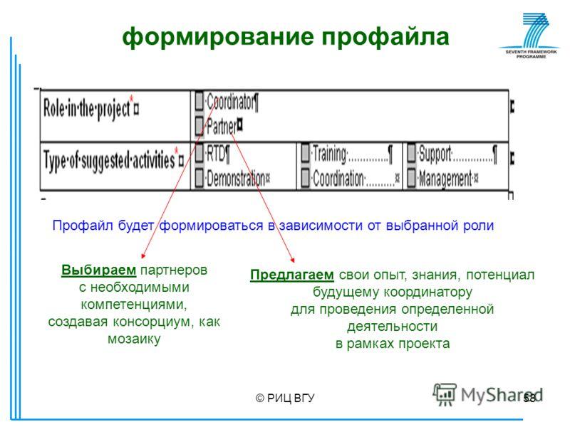 © РИЦ ВГУ58 формирование профайла Профайл будет формироваться в зависимости от выбранной роли Выбираем партнеров с необходимыми компетенциями, создавая консорциум, как мозаику Предлагаем свои опыт, знания, потенциал будущему координатору для проведен