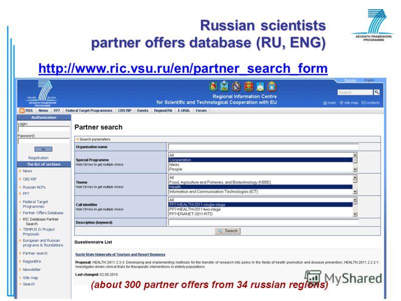 © РИЦ ВГУ76 (about 300 partner offers from 34 russian regions) Russian scientists partner offers database (RU, ENG) http://www.ric.vsu.ru/en/partner_search_form