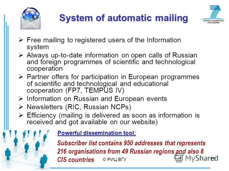 © РИЦ ВГУ77 Subscriber list contains 950 addresses that represents 216 organisations from 49 Russian regions and also 8 CIS countries System of automatic mailing Free mailing to registered users of the Information system Always up-to-date information
