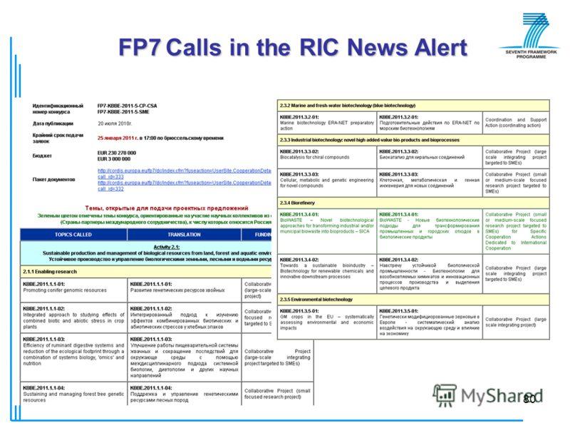 © РИЦ ВГУ80 FP7 Calls in the RIC News Alert