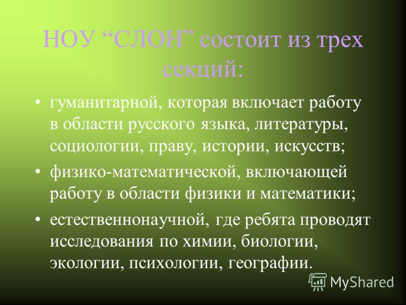 НОУ СЛОН состоит из трех секций: гуманитарной, которая включает работу в области русского языка, литературы, социологии, праву, истории, искусств; физико-математической, включающей работу в области физики и математики; естественнонаучной, где ребята