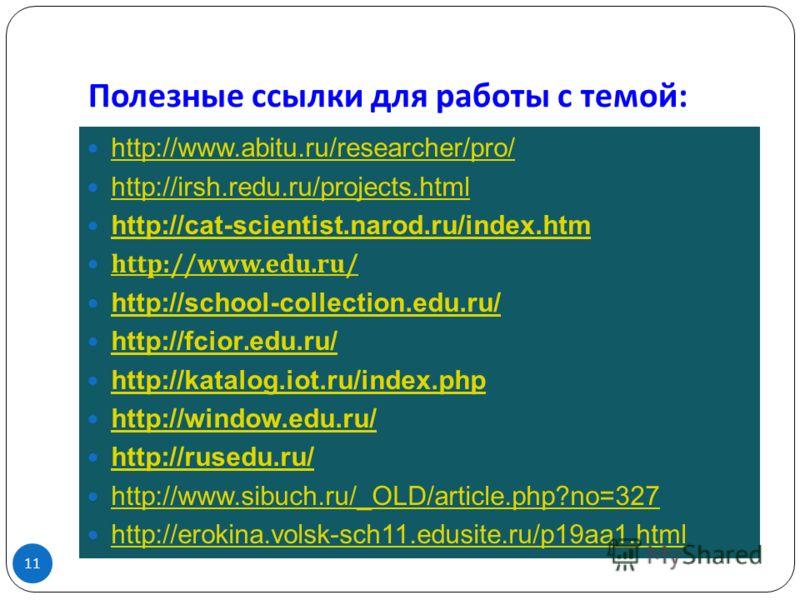 Полезные ссылки для работы с темой : 11 http://www.abitu.ru/researcher/pro/ http://irsh.redu.ru/projects.html http://cat-scientist.narod.ru/index.htm http://www.edu.ru/ http://school-collection.edu.ru/ http://fcior. edu.ru/ http://fcior. edu.ru/ http
