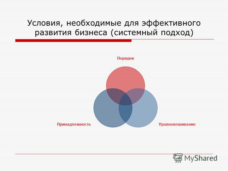 Условия, необходимые для эффективного развития бизнеса (системный подход) Порядок УравновешиваниеПринадлежность