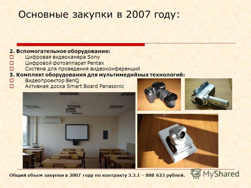 Основные закупки в 2007 году: 2. Вспомогательное оборудование: Цифровая видеокамера Sony Цифровой фотоаппарат Pentax Система для проведения видеоконференций 3. Комплект оборудования для мультимедийных технологий: Видеопроектор BenQ Активная доска Sma