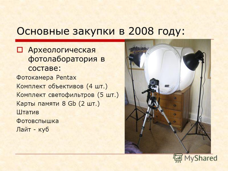 Основные закупки в 2008 году: Археологическая фотолаборатория в составе: Фотокамера Pentax Комплект объективов (4 шт.) Комплект светофильтров (5 шт.) Карты памяти 8 Gb (2 шт.) Штатив Фотовспышка Лайт - куб
