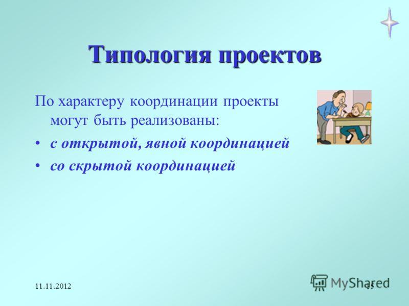 11.11.201215 Типология проектов По характеру координации проекты могут быть реализованы: с открытой, явной координацией со скрытой координацией