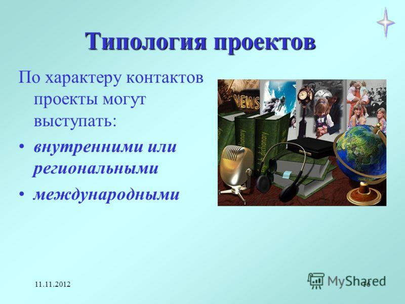 11.11.201216 Типология проектов По характеру контактов проекты могут выступать: внутренними или региональными международными