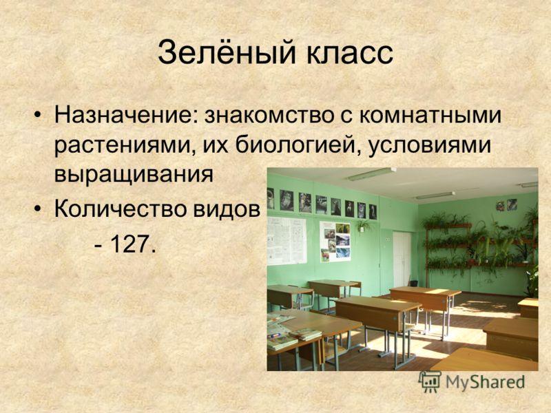 Зелёный класс Назначение: знакомство с комнатными растениями, их биологией, условиями выращивания Количество видов - 127.