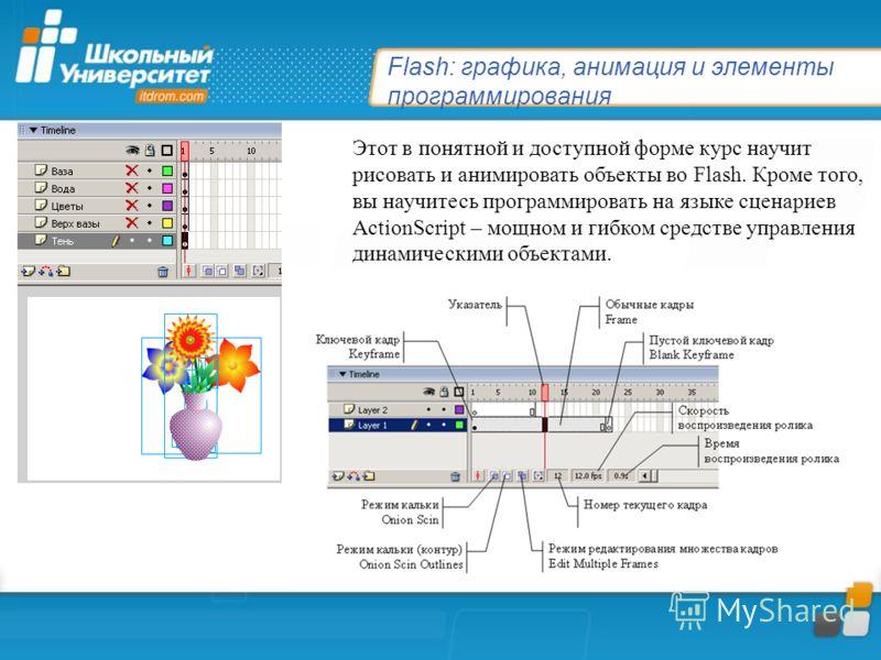 Flash: графика, анимация и элементы программирования Этот в понятной и доступной форме курс научит рисовать и анимировать объекты во Flash. Кроме того, вы научитесь программировать на языке сценариев ActionScript – мощном и гибком средстве управления