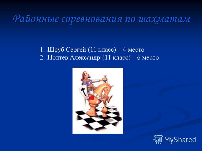 Районные соревнования по шахматам 1.Шруб Сергей (11 класс) – 4 место 2.Полтев Александр (11 класс) – 6 место