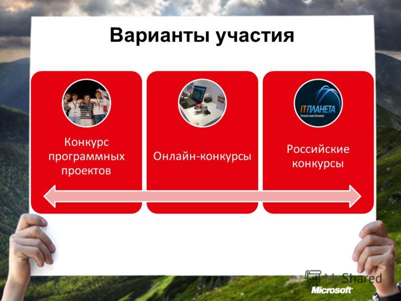 Варианты участия Конкурс программных проектов Онлайн-конкурсы Российские конкурсы