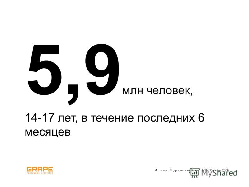 Источник: Подростки и интернет. ФОМ. Октябрь 2008. 5,9 млн человек, 14-17 лет, в течение последних 6 месяцев