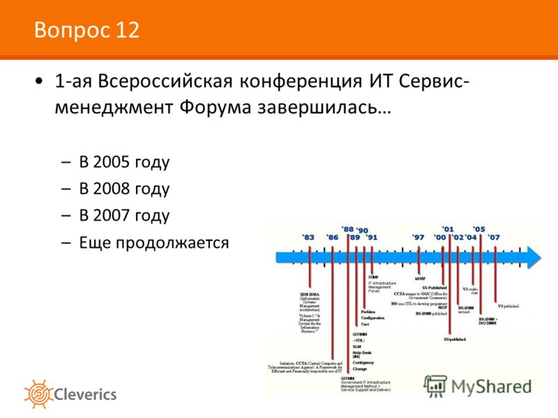 Вопрос 12 1-ая Всероссийская конференция ИТ Сервис- менеджмент Форума завершилась… –В 2005 году –В 2008 году –В 2007 году –Еще продолжается