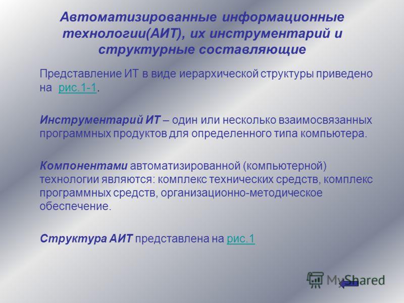Автоматизированные информационные технологии(АИТ), их инструментарий и структурные составляющие Представление ИТ в виде иерархической структуры приведено на рис.1-1.рис.1-1 Инструментарий ИТ – один или несколько взаимосвязанных программных продуктов