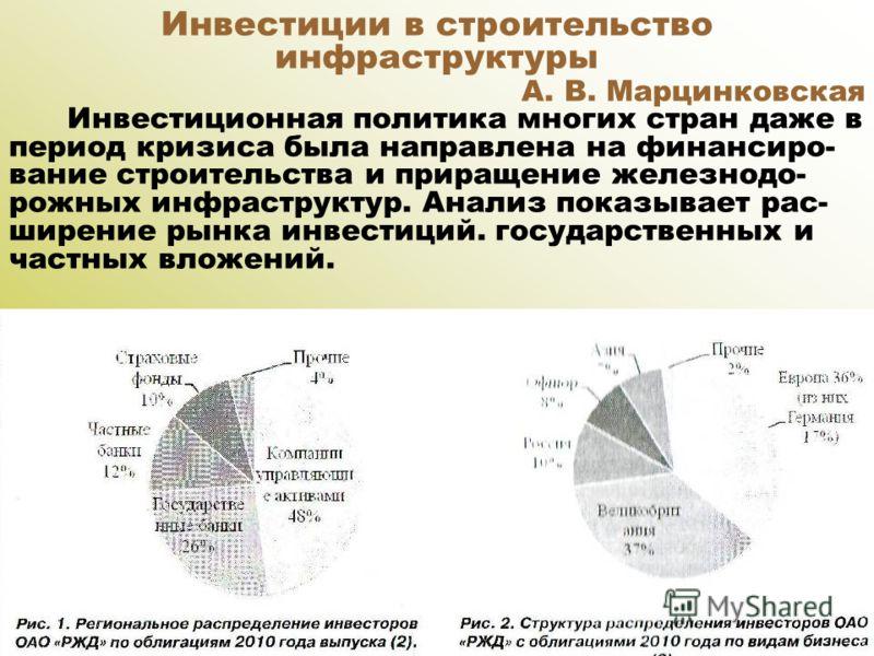 Инвестиции в строительство инфраструктуры А. В. Марцинковская Инвестиционная политика многих стран даже в период кризиса была направлена на финансиро- вание строительства и приращение железнодо- рожных инфраструктур. Анализ показывает рас- ширение ры