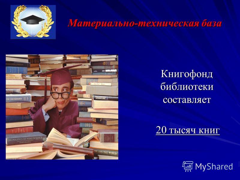 Материально-техническая база Книгофонд библиотеки составляет Книгофонд библиотеки составляет 20 тысяч книг 20 тысяч книг