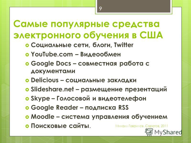 Самые популярные средства электронного обучения в США Социальные сети, блоги, Twitter YouTube.com – Видеообмен Google Docs – совместная работа с документами Delicious – социальные закладки Slideshare.net – размещение презентаций Skype – Голосовой и в