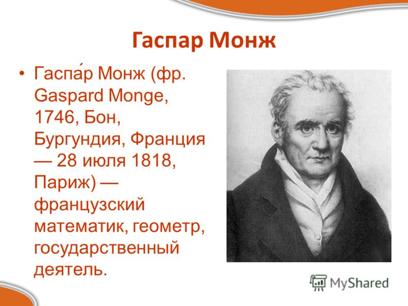 Гаспар Монж Гаспа́р Монж (фр. Gaspard Monge, 1746, Бон, Бургундия, Франция 28 июля 1818, Париж) французский математик, геометр, государственный деятель.