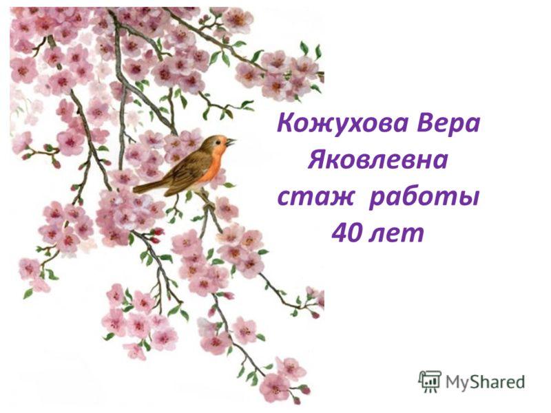 Кожухова Вера Яковлевна стаж работы 40 лет