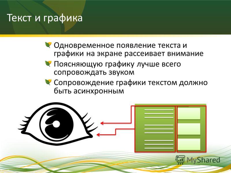 Текст и графика Одновременное появление текста и графики на экране рассеивает внимание Поясняющую графику лучше всего сопровождать звуком Сопровождение графики текстом должно быть асинхронным