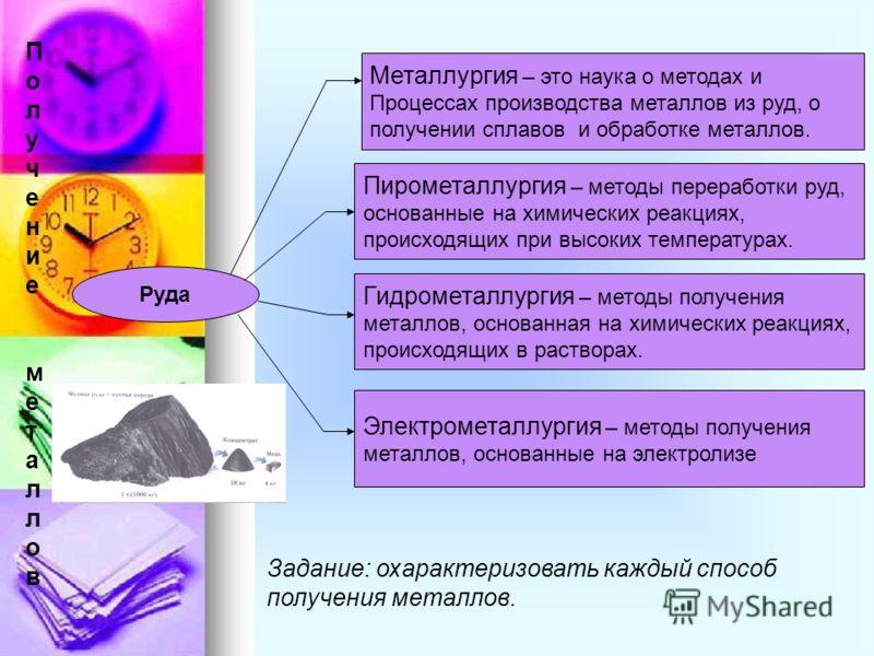 Руда Металлургия – это наука о методах и Процессах производства металлов из руд, о получении сплавов и обработке металлов. Пирометаллургия – методы переработки руд, основанные на химических реакциях, происходящих при высоких температурах. Гидрометалл