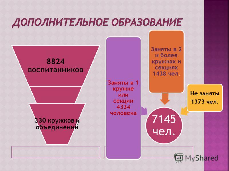 8824 воспитанников 330 кружков и объединений