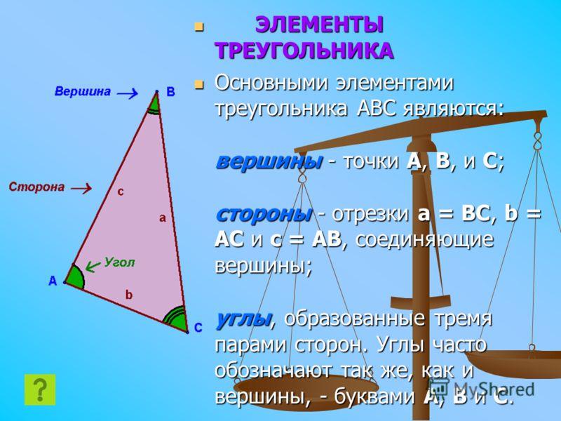 ЭЛЕМЕНТЫ ТРЕУГОЛЬНИКА Основными элементами треугольника ABC являются: вершины - точки A, B, и C; стороны - отрезки a = BC, b = AC и c = AB, соединяющие вершины; углы, образованные тремя парами сторон. Углы часто обозначают так же, как и вершины, - бу