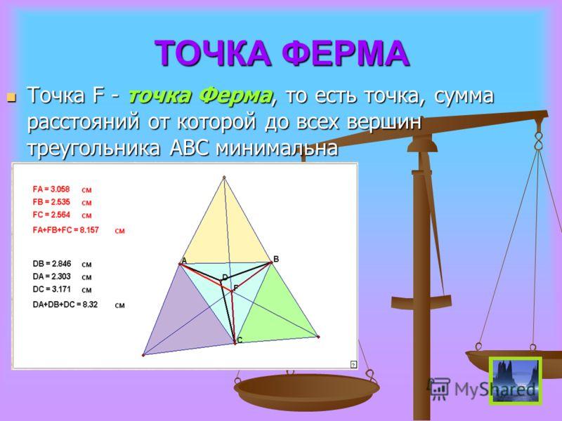 ТОЧКА ФЕРМА Точка F - точка Ферма, то есть точка, сумма расстояний от которой до всех вершин треугольника ABC минимальна Точка F - точка Ферма, то есть точка, сумма расстояний от которой до всех вершин треугольника ABC минимальна