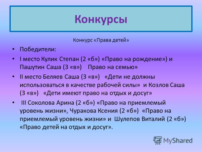 Конкурс «Права детей» Победители: I место Кулик Степан (2 «б») «Право на рождение») и Пашутин Саша (3 «в») Право на семью» II место Беляев Саша (3 «в») «Дети не должны использоваться в качестве рабочей силы» и Козлов Саша (3 «в») «Дети имеют право на