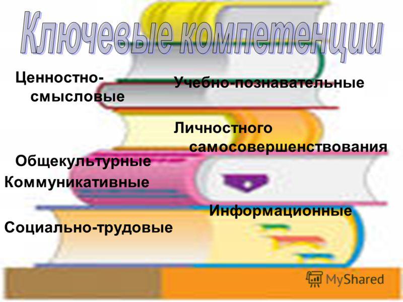 Ценностно- смысловые Общекультурные Учебно-познавательные Личностного самосовершенствования Коммуникативные Социально-трудовые Информационные