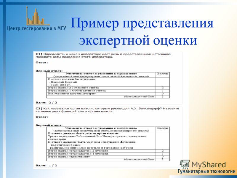 Пример представления экспертной оценки