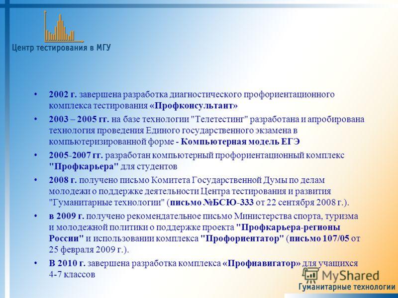 2002 г. завершена разработка диагностического профориентационного комплекса тестирования «Профконсультант» 2003 – 2005 гг. на базе технологии