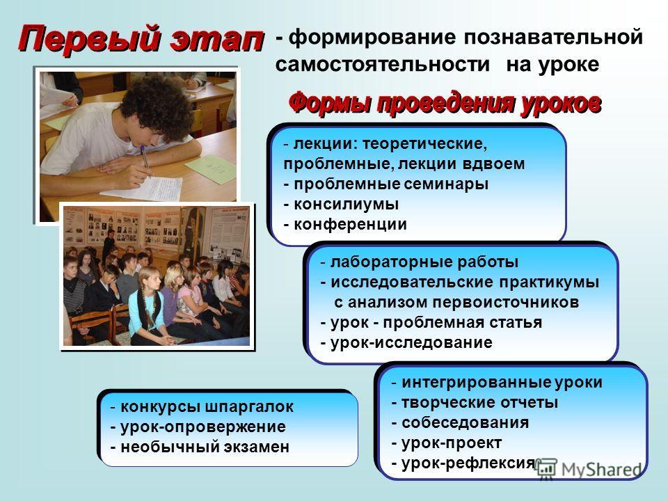 - формирование познавательной самостоятельности на уроке - лекции: теоретические, проблемные, лекции вдвоем - проблемные семинары - консилиумы - конференции - лабораторные работы - исследовательские практикумы с анализом первоисточников - урок - проб