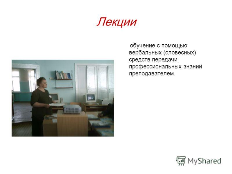 Лекции обучение с помощью вербальных (словесных) средств передачи профессиональных знаний преподавателем.