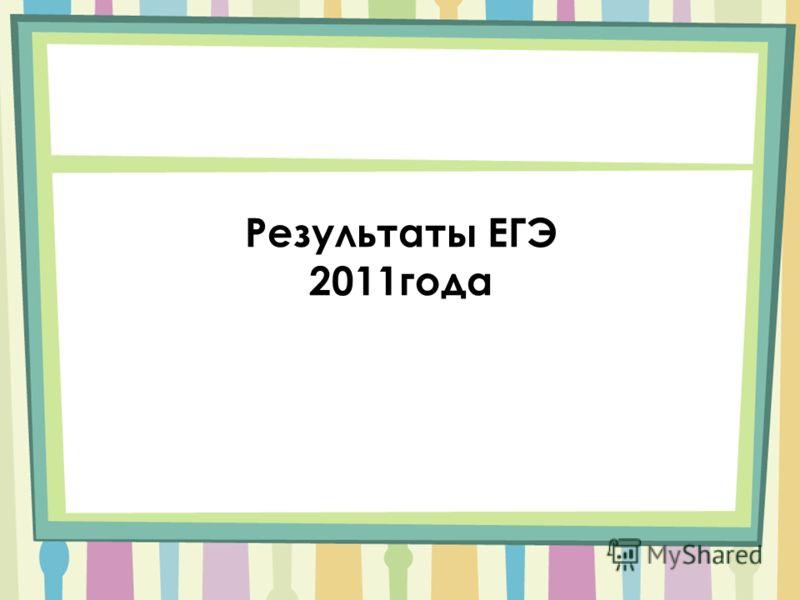 Результаты ЕГЭ 2011года