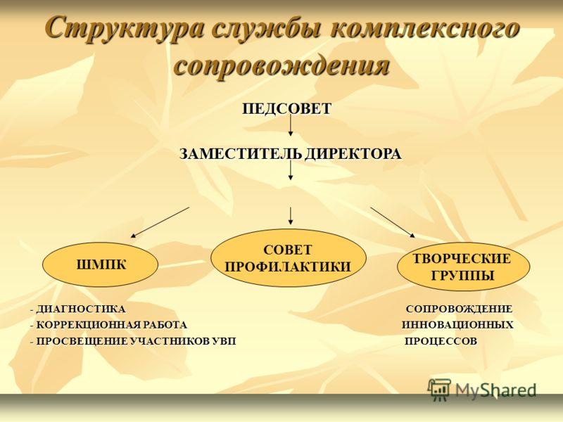 Структура службы комплексного сопровождения ПЕДСОВЕТ ПЕДСОВЕТ ЗАМЕСТИТЕЛЬ ДИРЕКТОРА ЗАМЕСТИТЕЛЬ ДИРЕКТОРА ШМПК СОВЕТ ПРОФИЛАКТИКИ ТВОРЧЕСКИЕ ГРУППЫ ПЕДСОВЕТ ПЕДСОВЕТ ЗАМЕСТИТЕЛЬ ДИРЕКТОРА ЗАМЕСТИТЕЛЬ ДИРЕКТОРА - ДИАГНОСТИКА СОПРОВОЖДЕНИЕ - КОРРЕКЦИОН