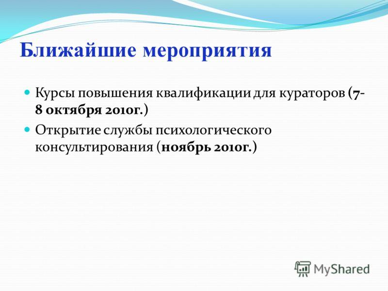 Ближайшие мероприятия Курсы повышения квалификации для кураторов (7- 8 октября 2010г.) Открытие службы психологического консультирования (ноябрь 2010г.)