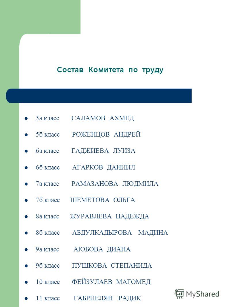 Состав Спорткомитета 5а класс ГАСАНОВ ШАМИЛЬ 5б класс БУХТОЯРОВА КРИСТИНА 6а класс КУЦЕНКО МИХАИЛ 6б класс ЮРКЕВИЧ ЕВГЕНИЙ 7а класс МАГОМЕДОВ РУСЛАН 7б класс ЧЕРКОВ АНТОН 8а класс ХИБИЕВ АРСЕН 8б класс ДЕТЮЧЕНКО ДМИТРИЙ 9а класс РОЖЕНЦОВ АЛЕКСЕЙ 9б к