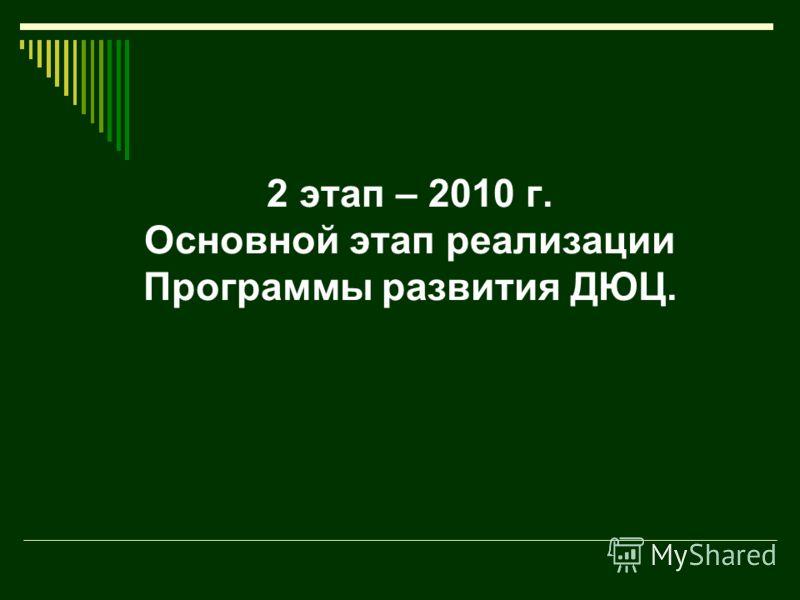 2 этап – 2010 г. Основной этап реализации Программы развития ДЮЦ.